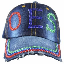 Order of the Eastern Star Denim Rhinestone Cap