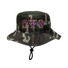 Omega Psi Phi Camo Bucket String Hat