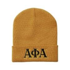 Alpha Phi Alpha Old Gold Folded Beanie