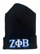 Zeta Phi Beta Black Folded Beanie