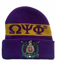 Omega Psi Phi Purple Crest Folded Beanie