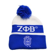 Zeta Phi Beta Royal Blue Crest Folded Beanie