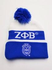 Zeta Phi Beta Royal Blue Crest Folded Beanie