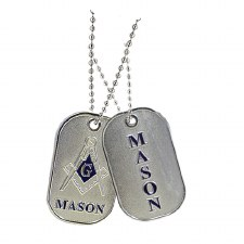 Mason Colored Letters & Crest Dog Tag