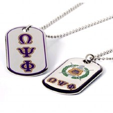 Omega Psi Phi Reversible Silver Dog Tag