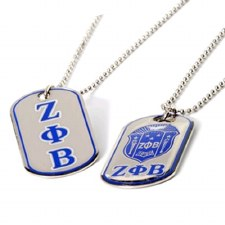 Zeta Phi Beta Reversible Silver Dog Tag