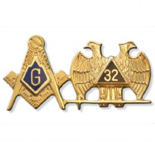 Mason Compass & 32nd Wing Down Combo Lapel Pin