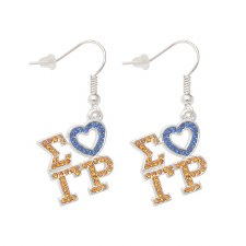 Sigma Gamma Rho Letters & Heart Earrings
