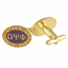 Omega Psi Phi Rhinestone Cuff Links