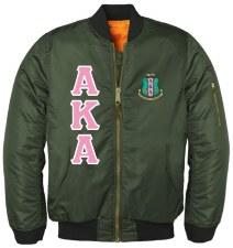 Alpha Kappa Alpha Military Green Flight Bomber Jacket