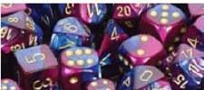 Dice Blue-Purple w/Gold Gem. 12MM D6 Block (36)