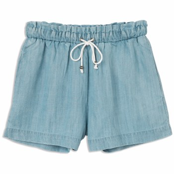 RVCA IM LISTENING HIGH RISE CHAMBRAY SHORT