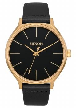 NIXON LEATHER CLIQUE, 38 MM GOLD/BLACK