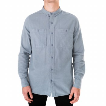 BANKS JOURNAL STONE BLUE SOMEDAYS LONG SLEEVE BUTTON UP
