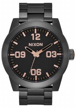 NIXON Corporal Stainless Steel 48mm in All Black/Rose Goldtone