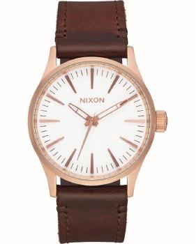 NIXON Sentry Leather 38mm in Rose Goldtone/White/Brown