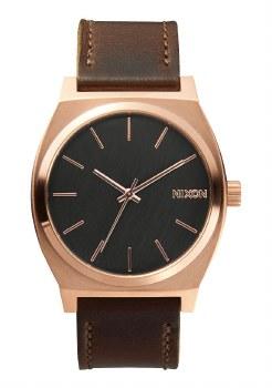 NIXON Time Teller Leather 37mm Rose Goldtone/Gunmetal/Brown