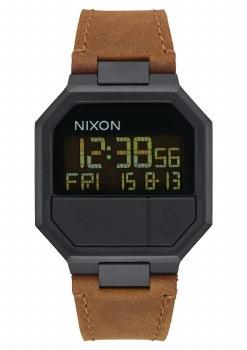 NIXON ALL BLACK/BROWN RE-RUN DIGITAL LEATHER 38.5MM WATCH