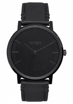 NIXON Porter Leather 40mm in All Black
