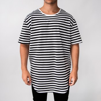Bronxton Short Sleeve Round Neck Horizontal Striped Long Tee