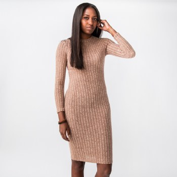 Hyfve Long Sleeve Rib Knit Bodycon Midi Dress