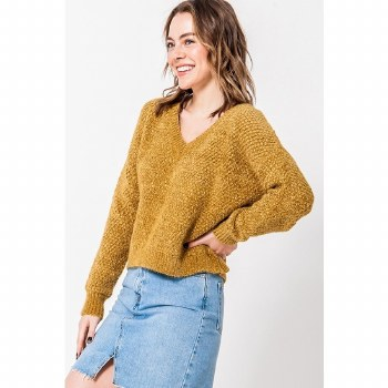MUSTARD FUZZY CHENILLE V NECK DROP SHOULDER SWEATER L