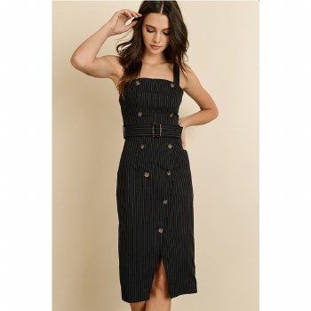 NAVY PINSTRIPE BUTTON-UP MIDI