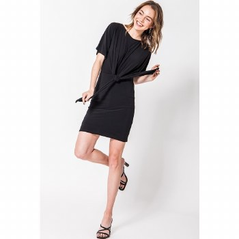 Black High Neck Dress With Front Tie