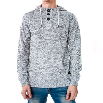 SOUL STAR ECRU FRONTED HOODED SWEATER