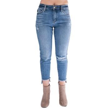 High Rise Distressed Denim Pants