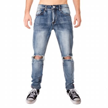KAYDEN K VINTAGE BLUE OPEN KNEE ANKLE TAPE JEANS