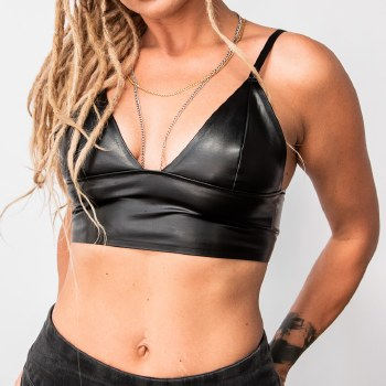 Faux Leather Wide Band Bralette
