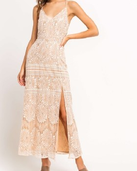 Lace Slit Maxi Dress