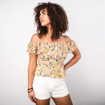 Off-the-Shoulder Button-front Floral Top