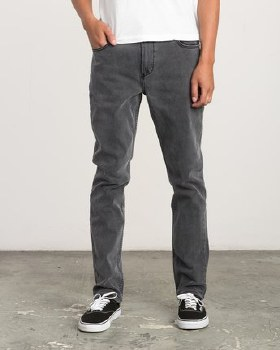 RVCA VINTAGE CHARCOAL DAGGERS SLIM-STRAIGHT JEANS