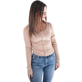 LIGHT TAUPE LONG SLEEVE BUTTON DOWN SWEATER S