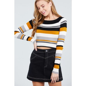 LONG SLEEVE BOAT NECK MUSTARD STRIPE CROP SWEATER S