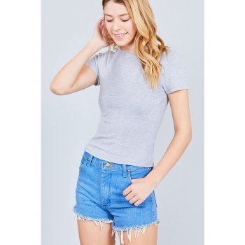 HEATHER GREY RIBBED CREW NECK SHORT SLEEVE TOP S