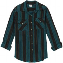 RVCA ARCH STRIPED BUTTON-UP FLANNEL TOP