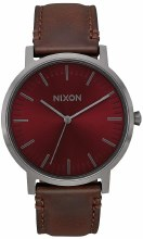 NIXON Porter Leather 40 mm in Gunmetal/Burgundy/Brown