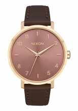 Nixon Arrow Leather, 38 mm Goldtone / Marsala