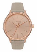 NIXON Clique Leather, 38 mm Rose Gold / Gray