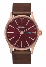 NIXON Sentry Leather 42mm in Rose Gold/Burgundy/Brown