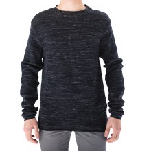 BLACK WAFFLE TEXTURED LONG SLEEVE SHIRT