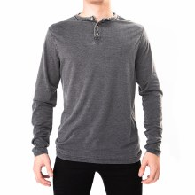 BLACK LONG SLEEVE BURNOUT WASH HENLEY