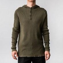 Bronxton XLong Sleeve 3-Button Raw Edged Knit Hoodie