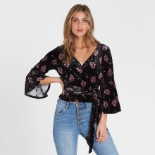 Crushed Velvet 3/4-sleeve Wrap-tie Cropped Blouse
