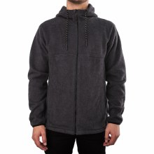 BOUNDARY BLACK BRUSHED ZIP HOODIE