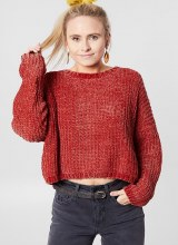 Billabong Long Sleeve Round Neck Cropped Sweater
