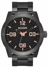 NIXON Corporal Stainless Steel 48mm in All Black/Rose Goldtone